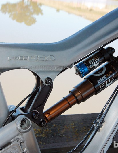 Foes paired the FXR show bike at Sea Otter with a FOX DHX Air 5.0