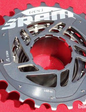 As with the front derailleur, BikeRadar showed pictures of the new Red cassette on a bike in February. Here's a clean shot of the back, which has been opened to reduce noise compared to the earlier sealed version