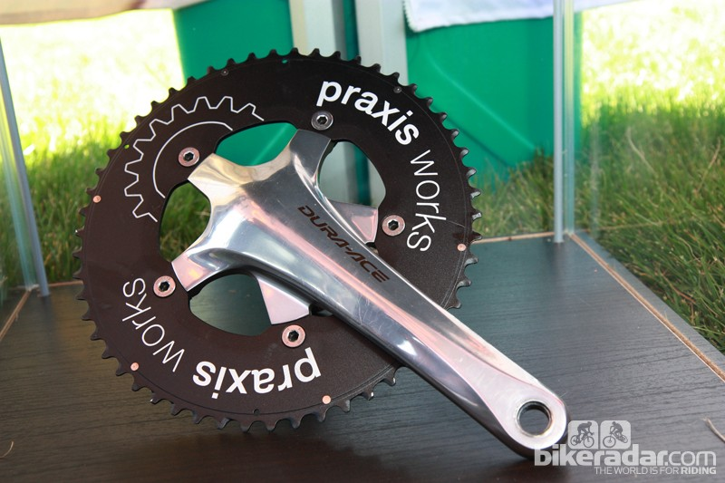 Praxis Works announced new time trial chainrings at the Sea Otter Classic. Just a single 54/42-tooth combination is available now but a 55/42t set is coming soon