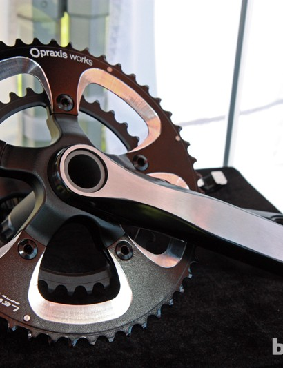Praxis Works' sister company Turn debuted new hollow forged aluminum cranks at Sea Otter with modular spiders for use with various chainring standards