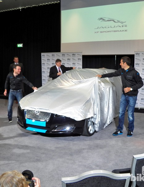 The big reveal. Mark Cavendish and Juan-Antonio Flecha take the wraps off the Team Sky Jaguar XF Sportbrake