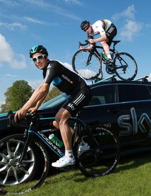 Mark Cavendish, Juan-Antonio Flecha and the Team Sky Jaguar XF Sportbrake