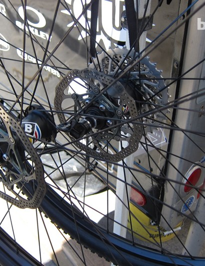 The BlackBox hubs have standard flanges and 32 spokes, and we assume them to use ceramic bearings
