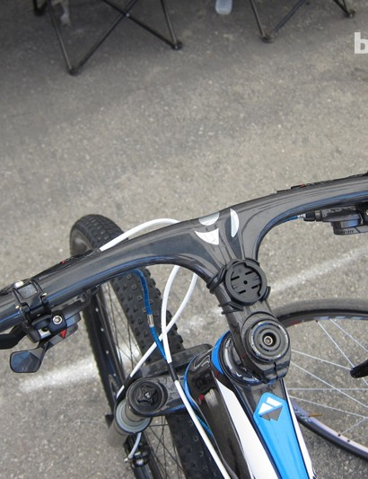 Matt Opperman's one-piece carbon bar is a hand-me-down from Sam Schultz who changed stem sizes over the winter