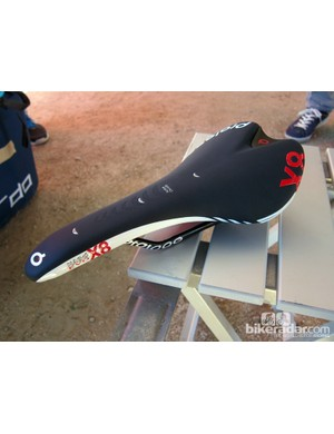 The new Prologo Nago Evo X8 saddle features a slightly rounded shell that falls in between the Scratch and Nago shapes. Aimed at the mountain bike crowd, the wider nose is designed to be more comfortable when tackling steep grades