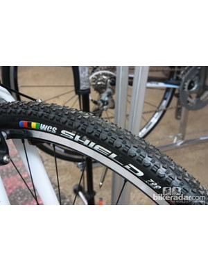 Spotted on a Lapierre 'cross bike at Sea Otter was a yet-to-be-announced Ritchey Shield tire, here in a 35mm-wide clincher version with a WCS casing