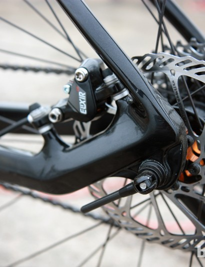The rear caliper on the new Redline carbon 29er hardtail is affixed to the chainstay, leaving the seatstays free to be a slim and softer shape