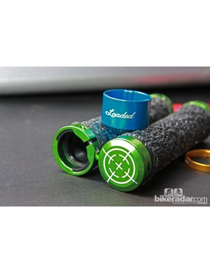 Loaded Precision's AmXc 'NoSlip' grips feature an unsually tacky cover plus trick CNC-machined locking collars with matching caps