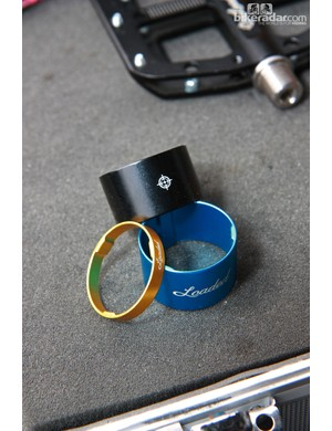 Loaded's aluminum headset spacers are machined to a paper-thin wall thickness but retain three lines of contact to stay centered on the steerer tube