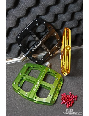 The Loaded Precision Signature pedals feature low-profile, slightly concave aluminum bodies and optional aluminum pin kits