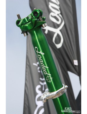 The Loaded X-Lite seatpost is available in seven anodized colors. The matching X-Lite quick-release binder clamp weighs just 24g