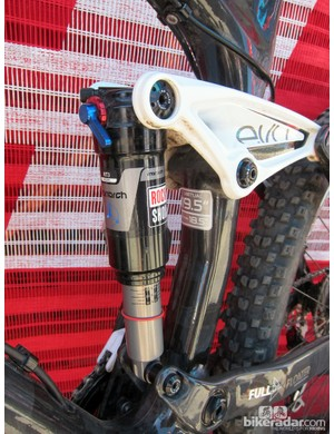We'd heard that RockShox were developing a specific Monarch head for use on Trek's proprietary side-mount Remedy linkage but this is the first one we'd seen in person