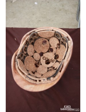 Coyle build their wood-shelled (yes, wood!) helmets with either traditional EPS or natural cork liners