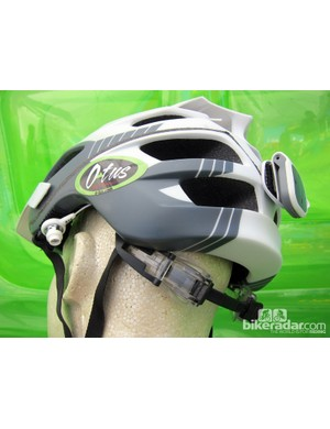 O-Tus showed off this helmet-mounted speaker system, offering riders access to their favorite tunes but without sealing out ambient noise like approaching traffic or other trail users