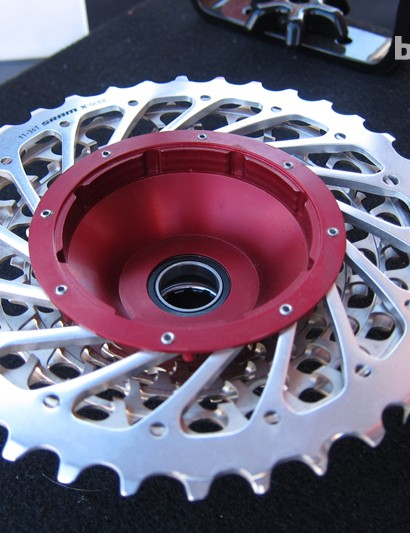 A SRAM XX 10-speed cassette retrofit to the Kappius Evolution hub design
