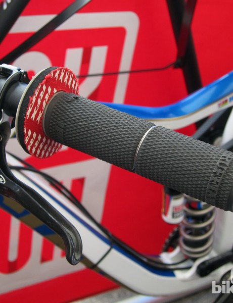 Danny Hart (Giant Factory Off-Road Team) prefers ODI's standard Ruffian grips to the lock-on version as they're thinner. They're wired on for security