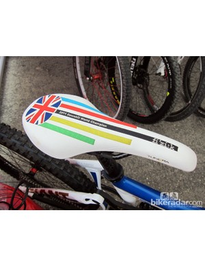 Danny Hart (Giant Factory Off-Road Team) is finding out that being world champion carries with it a few perks like this custom embroidered Fizik Tundra 2 saddle