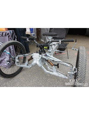 Double wishbone suspension for the front end of Tara Llanes' incredible trike