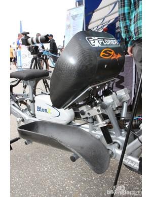 Custom-molded carbon fiber seat and leg cradles for Tara Llanes's custom trike