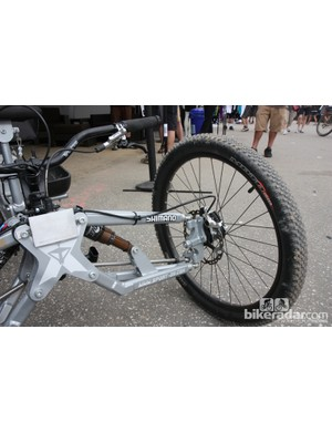 A lot of work went into constructing the custom double-wishbone front suspension on Tara Llanes's trike