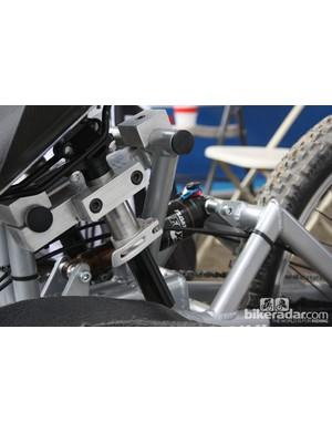 The single-pivot rear end on Tara Llanes's custom trike is suspended by a FOX Float rear shock