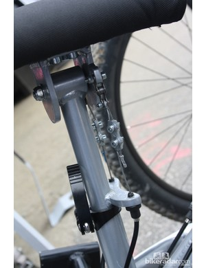 The tilting chest pad is connected to the steerer tube so Llanes can change direction and pedal at the same time