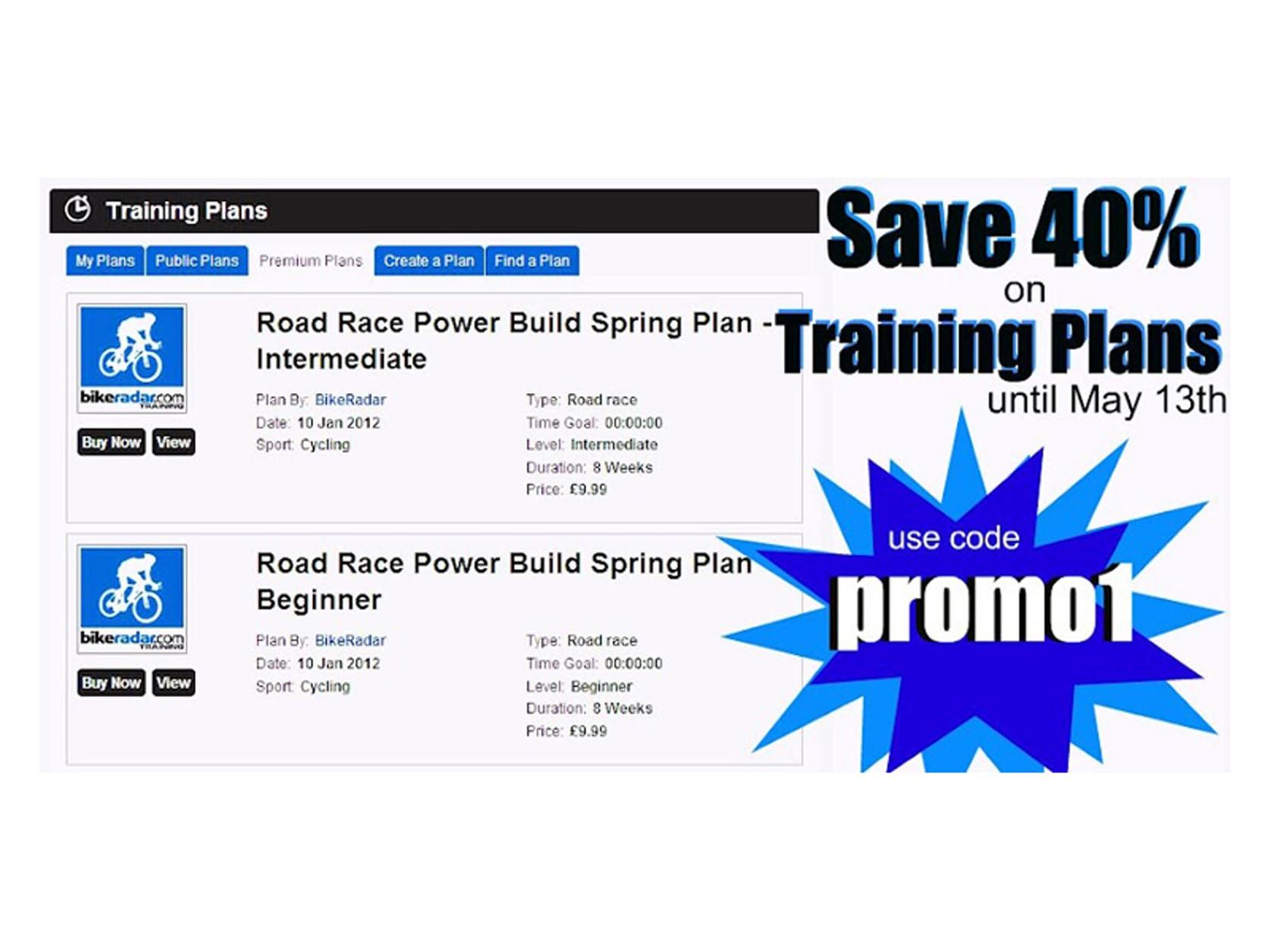 Save 40% on BikeRadar Training Premium Plans