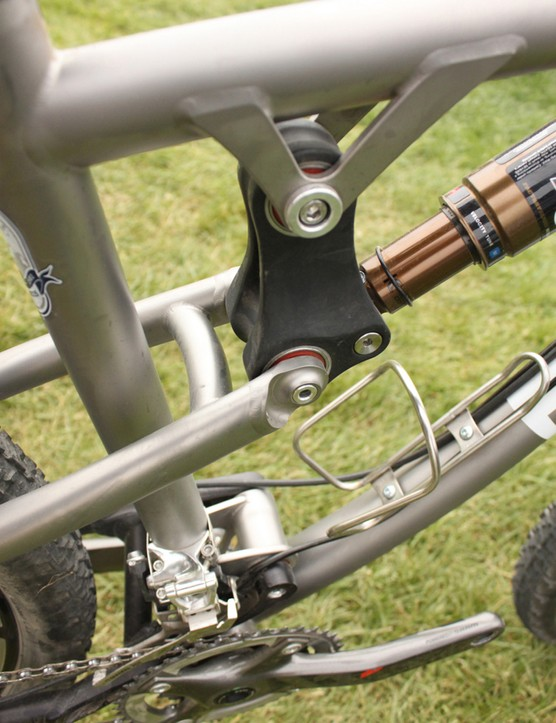 Moots' PMG-made carbon shock link, with Enduro bearings showing through