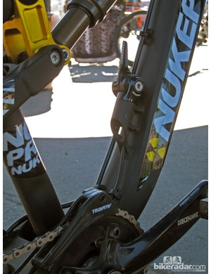 Nukeproof recognize that slopestyle riders will rarely shift gears out back so they went with this down tube setup using a SRAM RC2 TT bar-end shifter