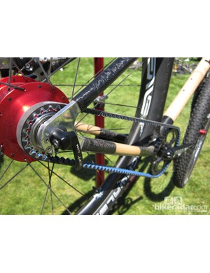 Boo Bicycles were among several companies at Sea Otter making use of Gates' latest CenterTrack belt drive