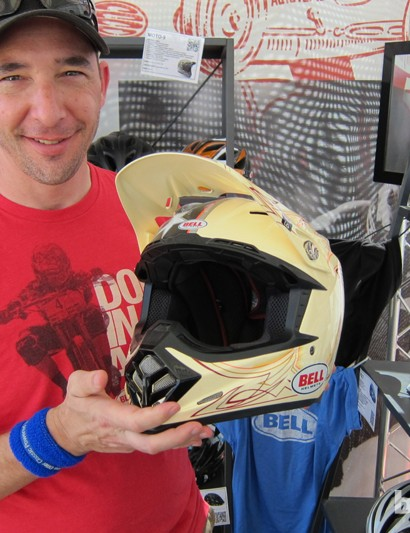 Bell's Don Palermini (pictured) told us that Aaron Gwin has been racing in a Moto-9 motocross helmet for the past year, and that he's working with the company to refine the design for an upcoming mountain bike version