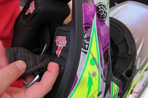 As part of the eject system, the magnetically retained cheek pads pull out easily when the helmet is still in place
