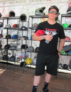 Aaron Gwin (shown) is involved with Bell's mountain bike development; right now, Bell and Gwin are using a medium-small Moto-9 shell with an upsized medium liner, which makes for a lower-volume, lighter package, as part of the mountain bike prototype project
