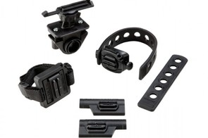 The bundle includes mounts for vented helmets and handlebars, plus two stick-on mounts and the Flex Strap