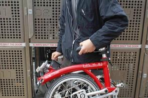 The bike is stored folded