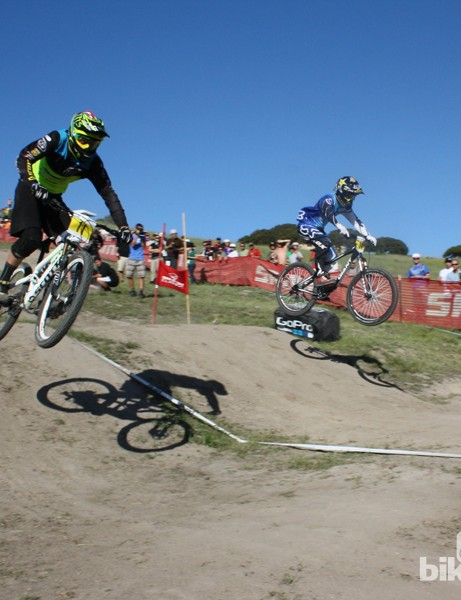 Brendon Fairclough (near) and Danny Hart (far) go head to head in the dual slalom
