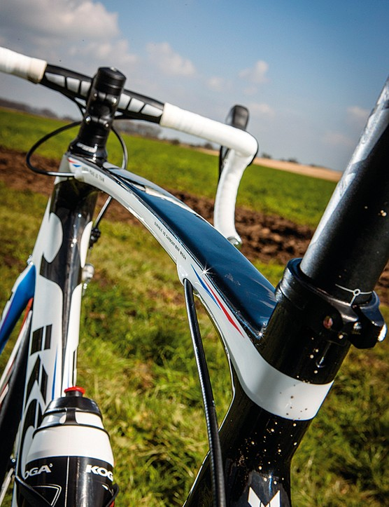 The flattened top tube contrasts with the huge diameter down tube