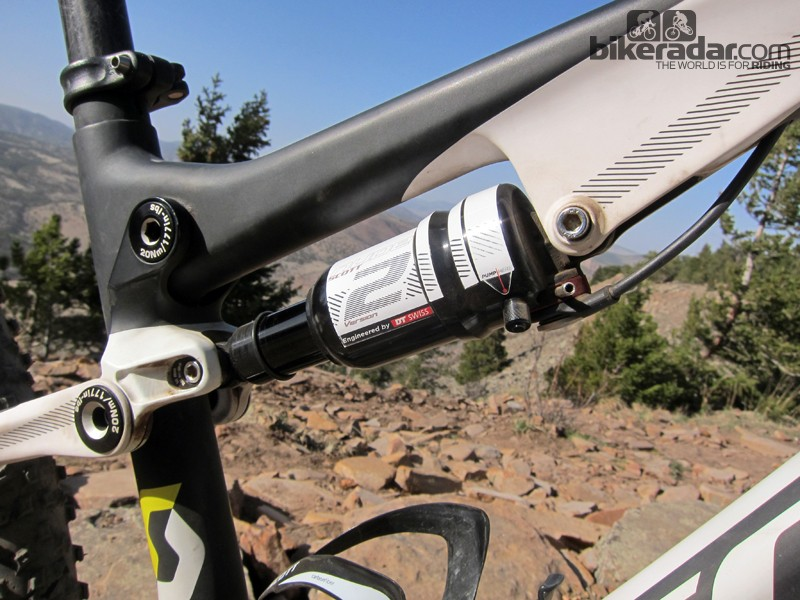 The DT Swiss Nude 2 rear shock is an improvement over the original version but it's still well behind what's available from FOX or RockShox. We swapped in a Float RP23 Adaptive Logic Boost Valve and were astounded by the improvement in suspension and pedaling performance