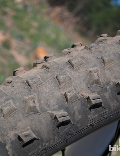 The included Schwalbe Rocket Ron tires were brilliant when new but the soft knobs wear quickly