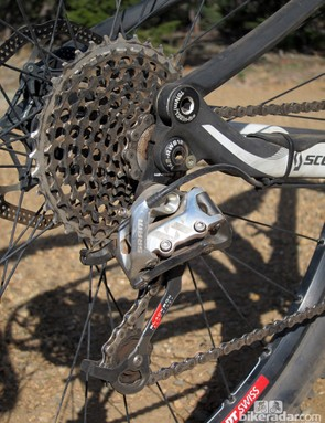 The SRAM XX rear derailleur and cassette were smooth and reliable throughout our test session