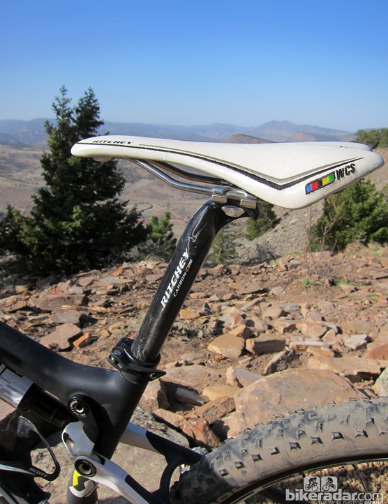 The Ritchey WCS Carbon post held tight and was creak-free throughout testing. Some might find the matching saddle a bit firm but the shape is very Sella Italia SLR-like so riders used to that should get on just fine