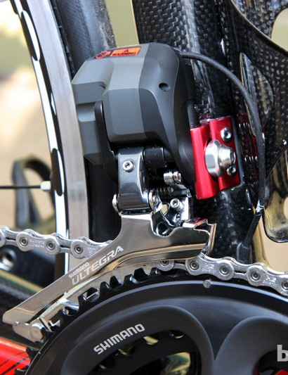 Front derailleurs mount to a bonded-and-riveted aluminum stub on the Wilier Triestina Gran Turismo