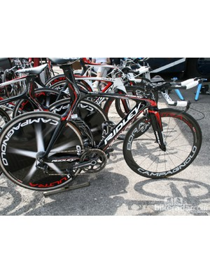 Bart De Clercq's Ridley Dean, fitted with Campagnolo EPS time trial shifting