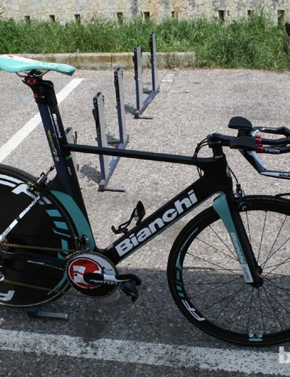 Gustav Erik Larsson's Vacansoleil Bianchi, complete with Vision Metron TT groupset