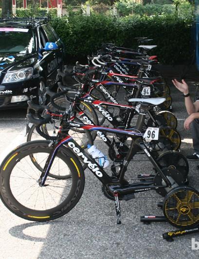 Garmin-Barracuda's warmup area with LeMond fitness turbo trainers