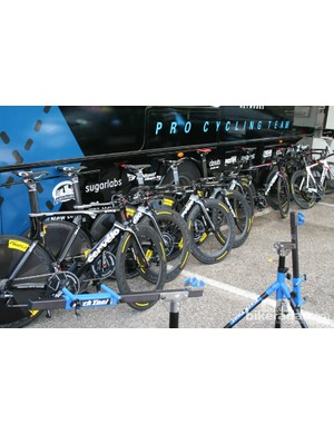 Garmin-Barracuda's array of Cervélo P4s - spare bikes. They rode to victory on the P5