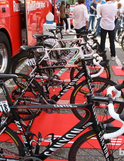 Katusha's warmup fleet of Canyon road bikes