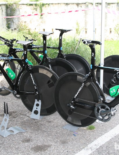 Team Sky's Pinarello Graals just back from a pre-race reconnaissance ride