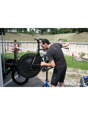 A Sky mechanic gives a bike the final once over