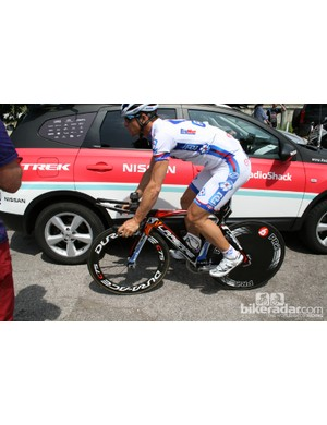 An FDJ rider heads out on his Lapierre
